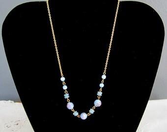 Vintage Blue Glass Lampwork Bead Necklace Choker