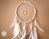 SALE -40%  --  Dream Catcher - Floral Dreams - With Sparkling Crystal Prism and White Feathers - Boho Home Decor, Nursery Mobile