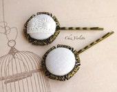 Romantic hair pin Wedding hair pins linen Fabric Hair accessory white hair Jewelry lace hairstyles