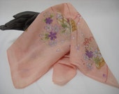 Vintage Japanese Fine Cotton Flowered Hanky/towellette/scarf