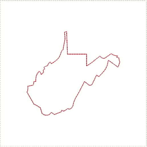 West Virginia WV Outline and Heart US United States