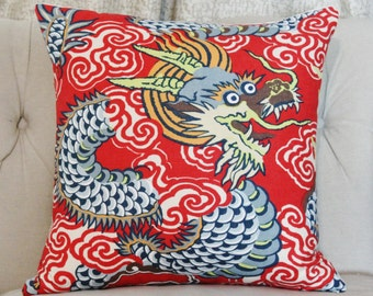 Dragon Pillow Cover - Chinoiserie Pillow - Red Blue and Lime Pillow - Modern Pillow Cover - Red Pillow Cover