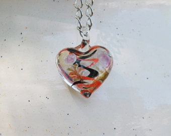 Beautiful Heart  Lampwork Glass Pendent Necklace