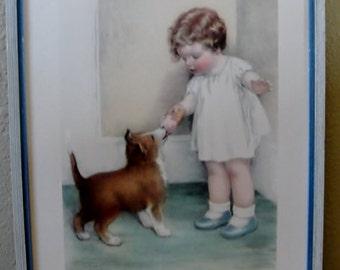 """Framed Art """"THE REWARD"""" Vintage Print by Bessie Gutmann"""