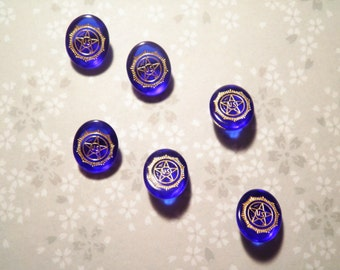 6 Sapphire Blue American Legion Glass Stones