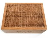 Herringbone Design Wood Keepsake Box, Gift