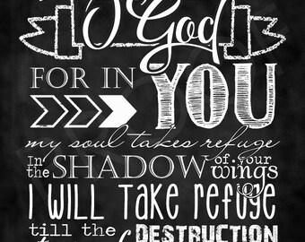 Scripture Art - Psalm 57:1 ~ Chalkboard Style