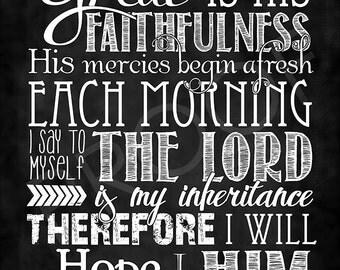 Scripture Art - Lamentations 3:23-24 ~ Chalkboard Style