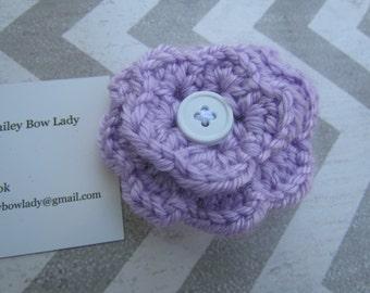 Light Purple Crochet Flower Hair Clip