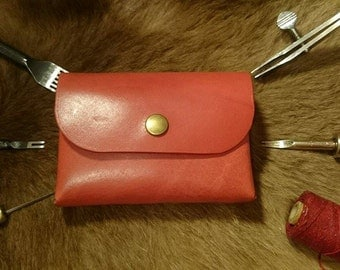 Vegetable tanned leather coin pouch