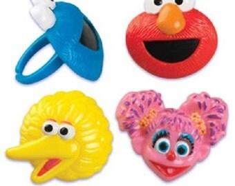 12 Sesame Street party Cupcake rings ELMO abby Cookie Monster big BIRD cake POPS
