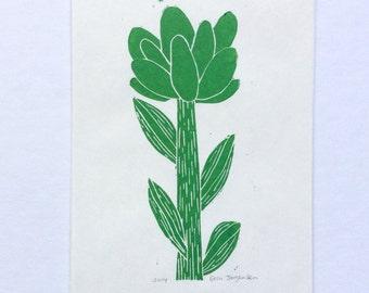 linocut - GREEN FLOWER - 5x7 / printmaking / block print / nature art / flower art