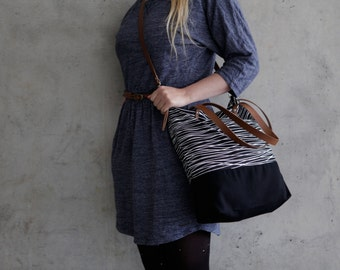cross body bag, black tote bag, canvas fabric, daybag sac leather strap large handmade black and white striped