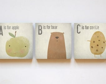 "Print-trio ""ABC"" on wood 12 x 12 * English version *."
