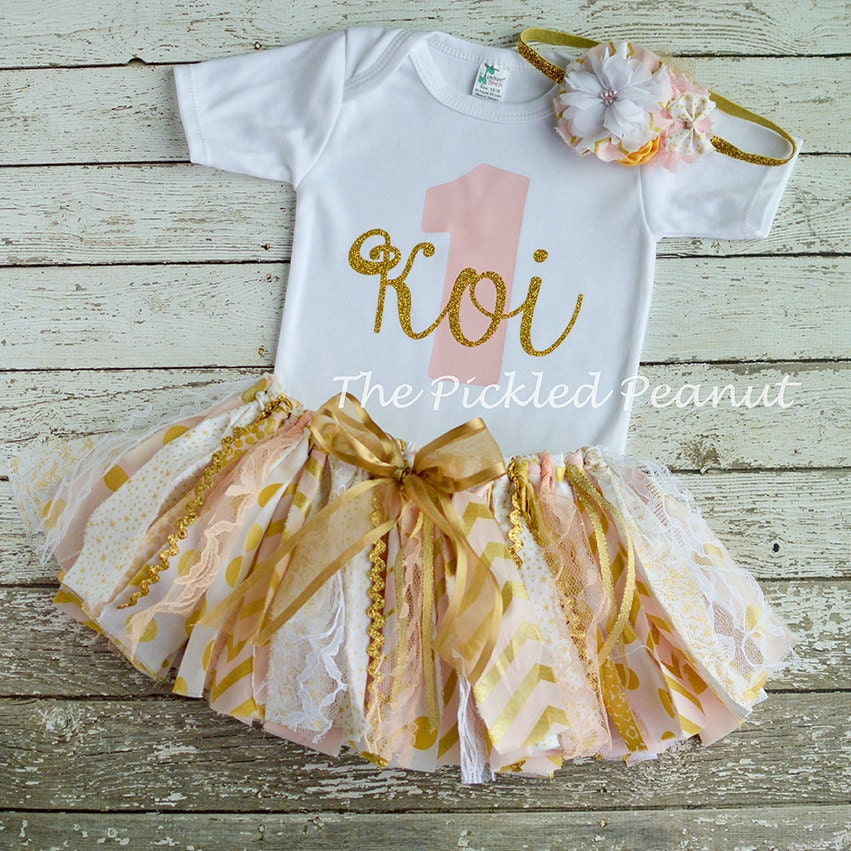 Pink Gold 1st Birthday Onesie 1st Birthday By ThePickledPeanut
