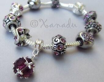 Lavender Purple June Birthstone Alexandrite European Charm Bracelet - Rhinestone Charm Bracelet For June Birthdays