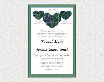 CUSTOM Maps Wedding Invite Personalized PDF Print 5x7