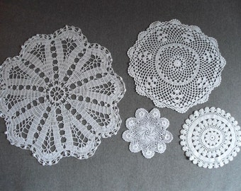 Collection of 4 Vintage Intricate Hand Crocheted Doilies
