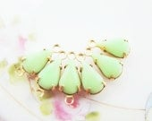 Vintage Teardrop 10x6mm Opaque Light Green Glass Stones in Brass Drop or Connector Settings - 6