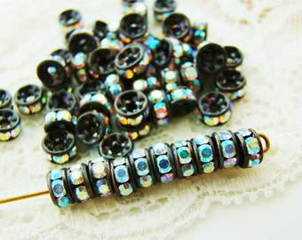 5mm Black Patina Czech AB Crystal Rhinestone Rondelle Spacers Beads - 10