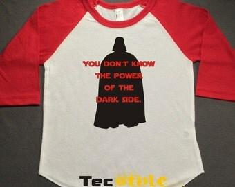 Dark Side Star Wars Raglan  Printed Tshirt, 3/4 sleeve, baseball shirt, Darth Vader, Toddler Raglan