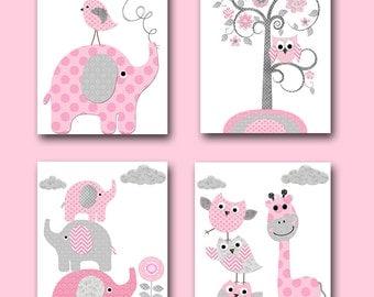 Playroom Decor Elephant Nursery Decor Baby Shower Gift Kids Art for Children Kids Wall Art Baby Girl Nursery Print set of 4 Pink Gray