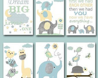 Baby Shower Gift Kids Wall Art Kids Art Elephant Nursery Quotes Baby Boy Nursery Art Baby Room Decor set of 6 Gray Blue Yellow Mint