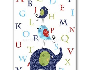 Elephant Nursery Wall Art Alphabet Nursery Alphabet Baby Boy Nursery Art Print Childrens Wall Art Baby Room Decor Navy Green Blue Red