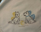 Flour SAck Dish Towel - Hand Embroidery Scottie puppies - time to play
