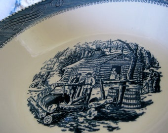 Currier and Ives Maple Sugar Vegetable bowl  Very good  Hard to Find