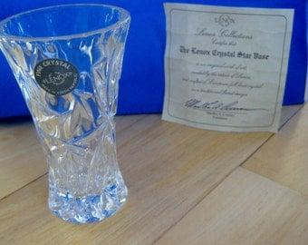 Lenox Crystal Star Vase with COA & sticker Mint