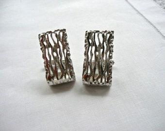 Vintage Cufflinks - Men's Silver Cufflinks - Wedding - Office Wardrobe - Hipster Jewelry - Urban Industrial - Large Cufflinks - Art Deco
