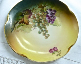 "Serving Plate - Wall Plate - Antique Plate - Signed By Artist- Grapes and Leaves Design - Jaeger &Co. 1902 Bavaria - ""Louise"" Pattern - Fine"