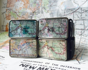 Santa Fe  New Mexico Vintage Map Buckle-Choose One of Five Colors Handmade SouthWestern Souvenior with Belt