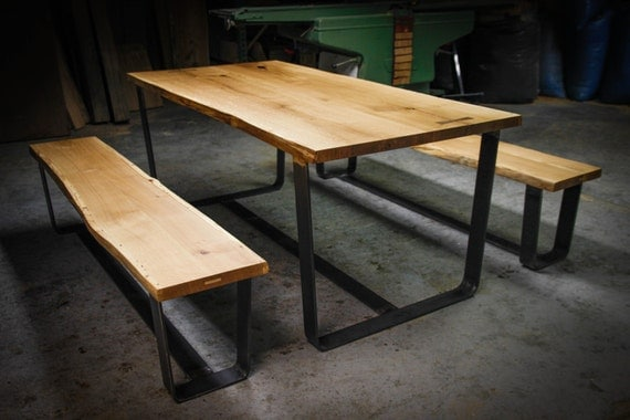 Modern Dining Set Handmade Old Oak Table And Benches With