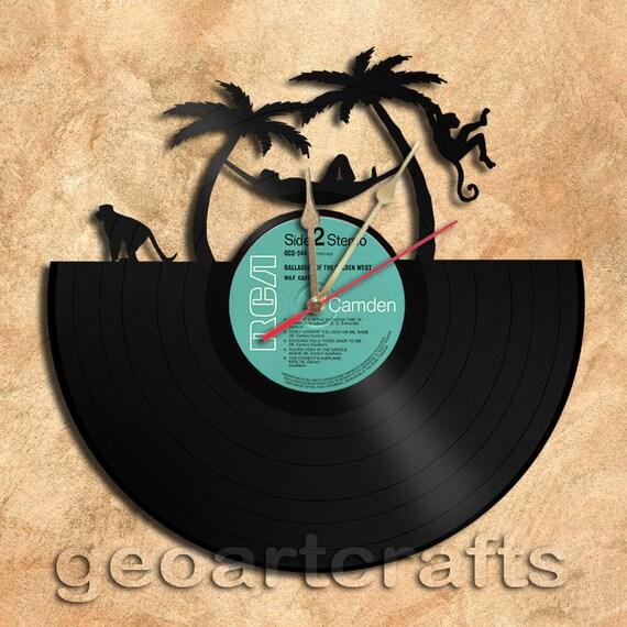 Wall Clock Relax Theme Vinyl Record Clock Upcycled Vinyl