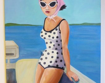 Alice goes out for a ride in the boat. An original painting of a vintage woman wearing a Polka dot swimsuit.