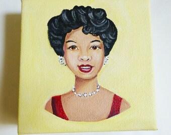 Nettie, a beautiful 1940's woman wearing a red dress and diamond jewelry.