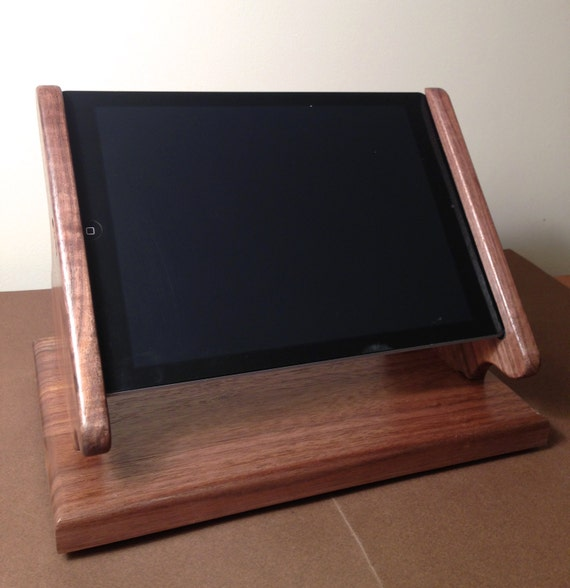 Black Walnut iPad Air Stand with Swivel Base for Square, and other POS card readers -