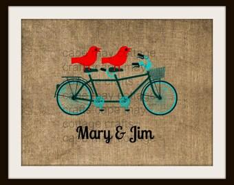 Personalized Family Tandem Bike Print, Family Name or Individual names