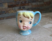 Baby face coffee cup - Miss Cutie Pie egg cup Napco Japan 1950s Miss Cutie Pie line