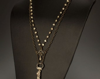 Vintage Assemblage Necklace with Key Pendant