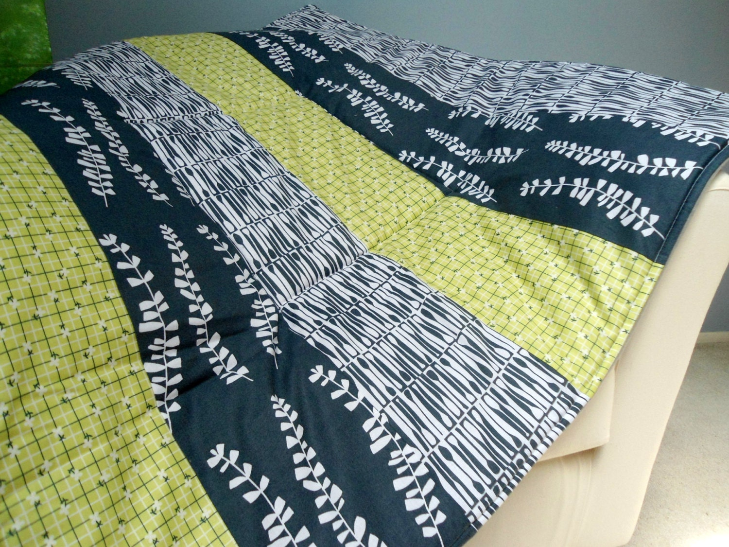 baby play mat padded floor blanket personalize green gray