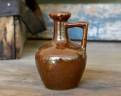 Rustic Brown Jug Vase - Dark Cinnamon Glazed Pitcher Style Pottery, Art Deco Handle - Small Bud Vase Size - Vintage Home Decor