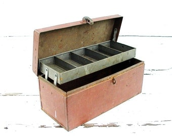Vintage Craft Box Old Reddish Brown Paint Metal Tackle - Organize Crafts - Trays Dividers Tool Toolbox Storage