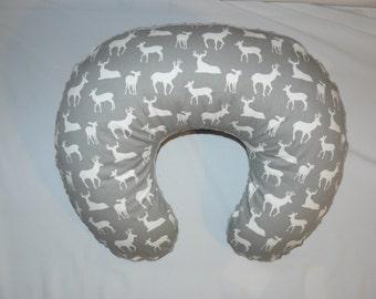 Nursing Pillow slipcover, Deer Print, Nursing pillow cover,  Grey , Minky