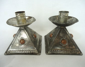 Pair Vintage MEXICAN TIN and COPPER Candleholders Square Base Taper Holders from Mexico