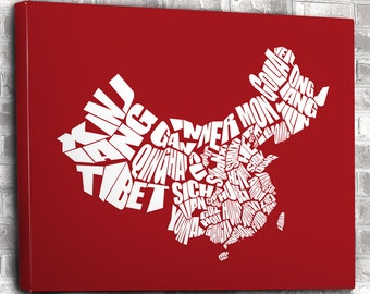 China Word Map - A typographic word map of the Provinces of China, Personalized Gift, Travel Map, Custom Art Print or Custom Canvas Art