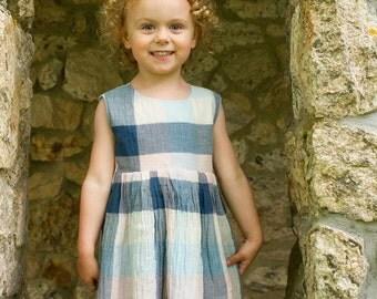 Girls, Toddlers, Babies, Cotton Plaid Gauze Dress Pink Blue Navy