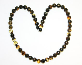 Genuine Baltic amber necklace round beads 3